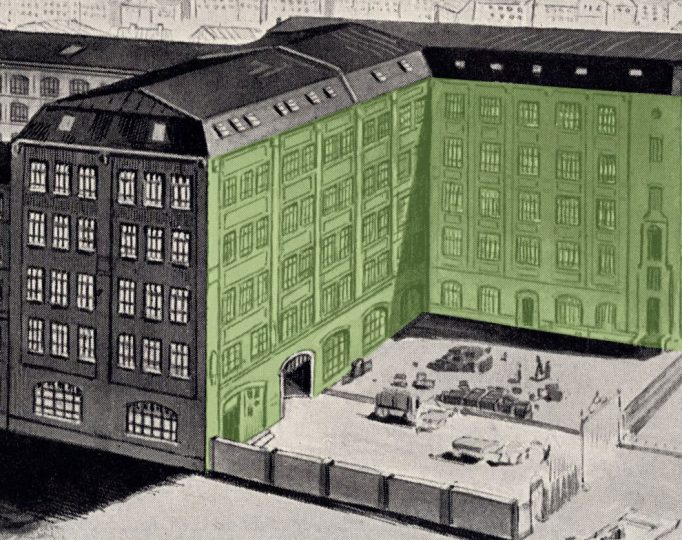 A crop of the previously-shown illustration, with the façade featured in the above photograph highlighted in green.