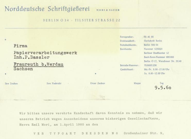 Norddeutsche Schriftgießerei letterhead 1960