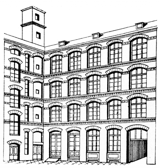 Illustrated view of the factory building