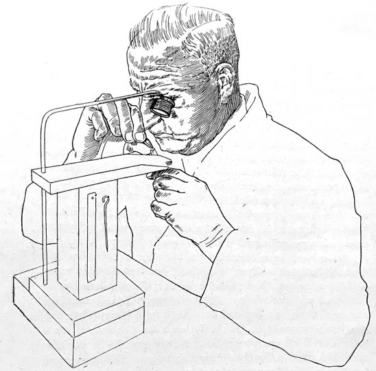 Illustrated portrait of the punchcutter Otto Erler at work