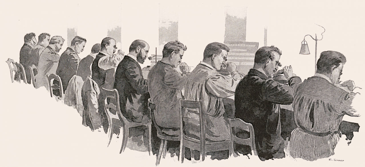 Eleven punchcutters at work in Schelter & Giesecke, 1894