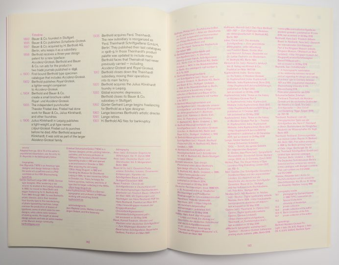 The origins of Akzidenz-Grotesk: Bibliography spread in Footnotes C