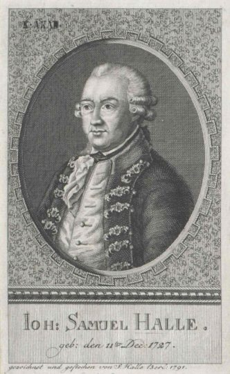 1791 portrait by of Johann Samuel Halle by his son, the copperplate engraver Johann Samuel Ludwig Halle