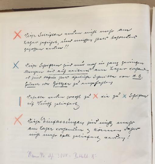 Handwritten notes inside a Ferd. Theinhardt GmbH specimen volume kept in the Historisches Archiv at the Deutsches Technikmuseum in Berlin.