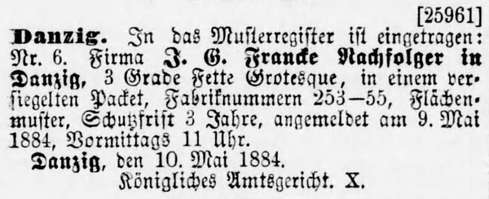 Notice of a J. G. Francke Nachfolger Musterregistrierung Danzig 1884
