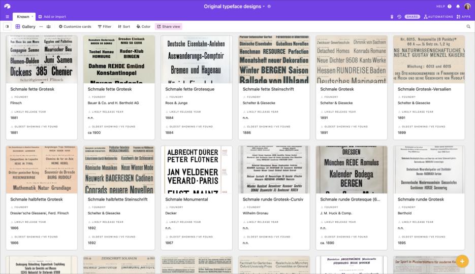 Sans serif typefaces sold in German-speaking Europe whose origins I have identified