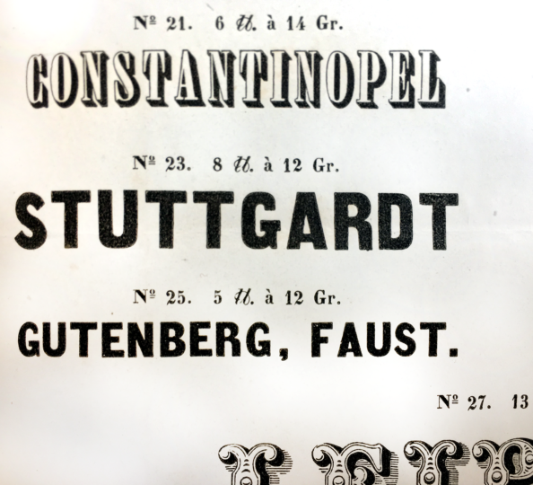 Close-up on three ornamental sans serif types from an 1840 Breitkopf and Härtel specimen sheet