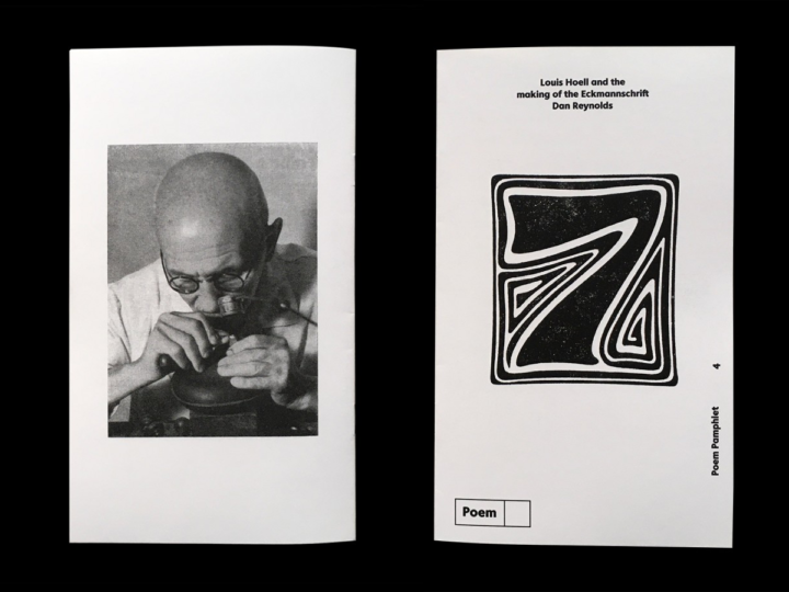 Back and Front Cover of Poem pamphlet 4: Louis Hoell and the making of the Eckmannschrift