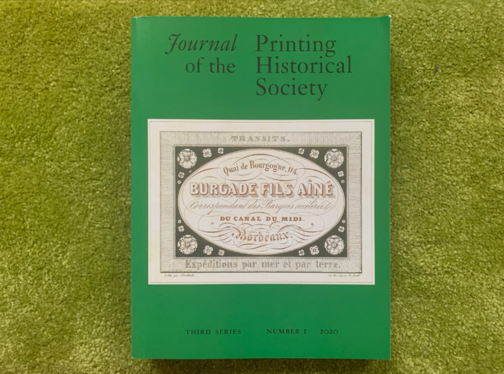 Journal of the Printing Historical Society, Third Series, Number 1 (2020), front cover