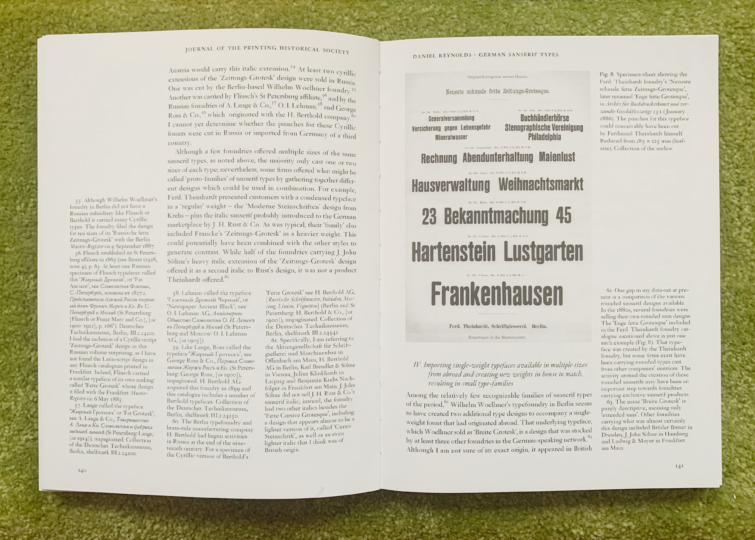 Spread on sans serif typefaces from my article in the Journal of the Printing Historical Society