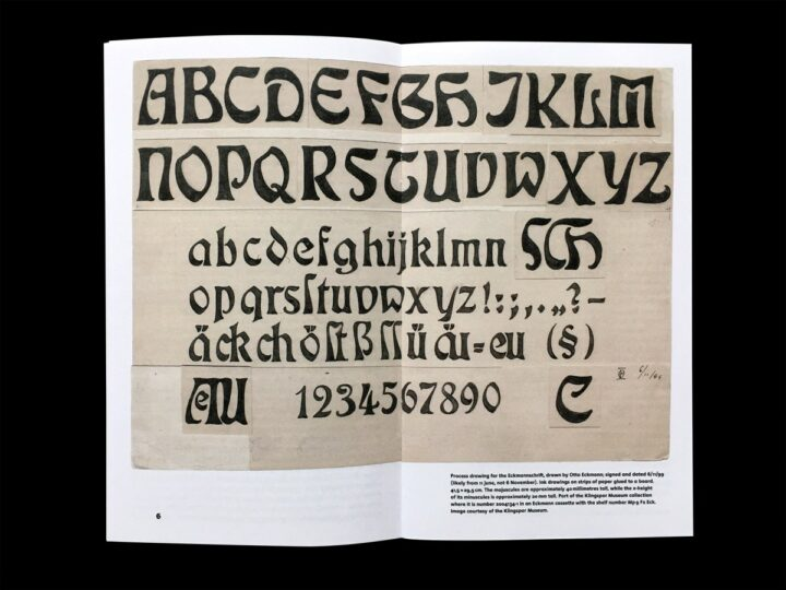 Spread reproducing an Otto Eckmann drawing for his typeface's design.
