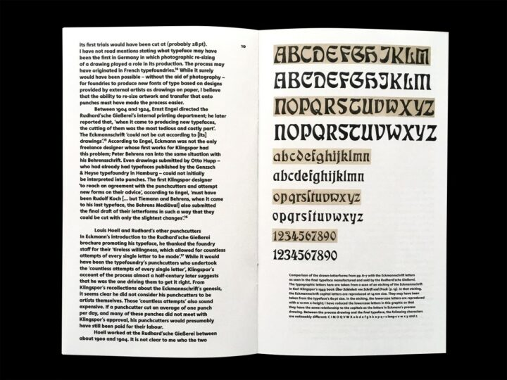 Spread comparing Otto Eckmann's drawing with the final typeface as cut by Louis Hoell