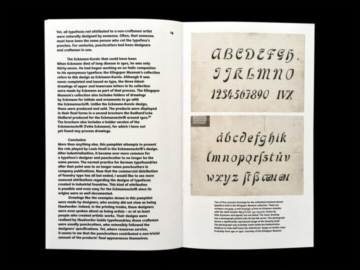Spread reproducing two drawings for the unfinished Eckmann-Kursiv typeface