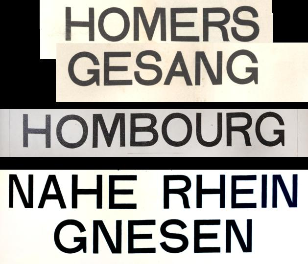 Three similar all-caps sans serif type designs
