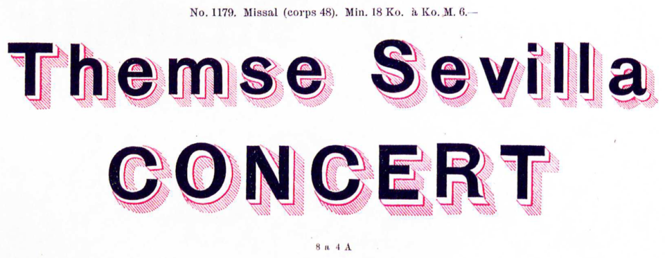 Wilhelm Woellmer's Zweifarbige schattirte Grotesk, a sans serif typeface with a drop shadow printable in a second color