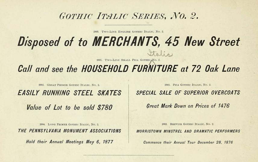 Gothic Italic Series, No. 2: specimen of six type sizes
