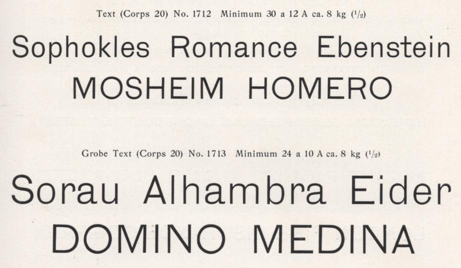 Lapidar-Schriften from Genzsch & Heyse, both 20pt sizes, with lowercase