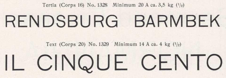 Lapidar-Versalien 16pt and 20pt from the 1902 catalog from E.J. Genzsch GmbH in Munich