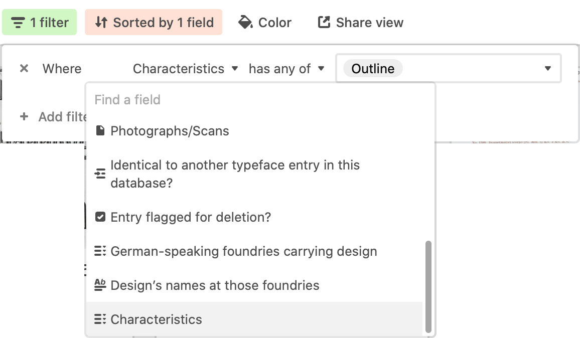 Create a filter to find any fonts whose characteristics include an outline.