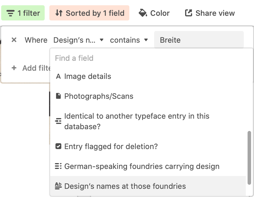 Create a filter to find any fonts whose names include the German word Breite.