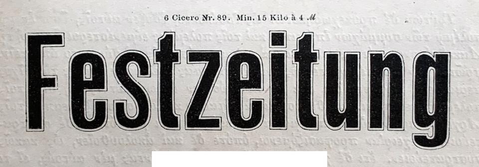 C. Kloberg's 6 Cicero No. 89, with the text Festzeitung