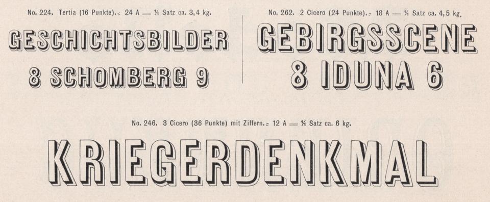Schelter & Giesecke's Antiqua-Zierschriften, numbers 224, 262 and 246. From its 1899 catalog.