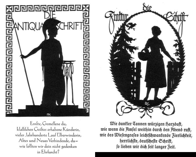 Rudolf Koch paper-cut silhouettes Die Antiqua Schrift and die Fraktur Schrift