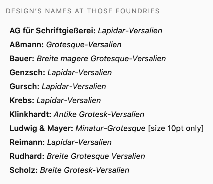 List of the names Genzsch & Heyse's Lapidar-Versalien typeface went by at ten other German and Austrian typefoundries.