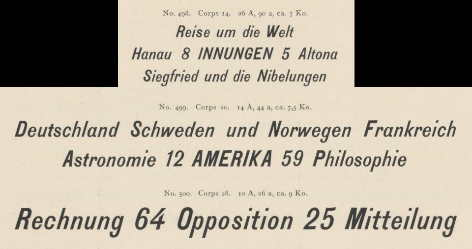 Benjamin Krebs Nachfolger 1899 catalog. 14, 20 and 28pt sizes of the design it sold as Kursiv-Steinschrift