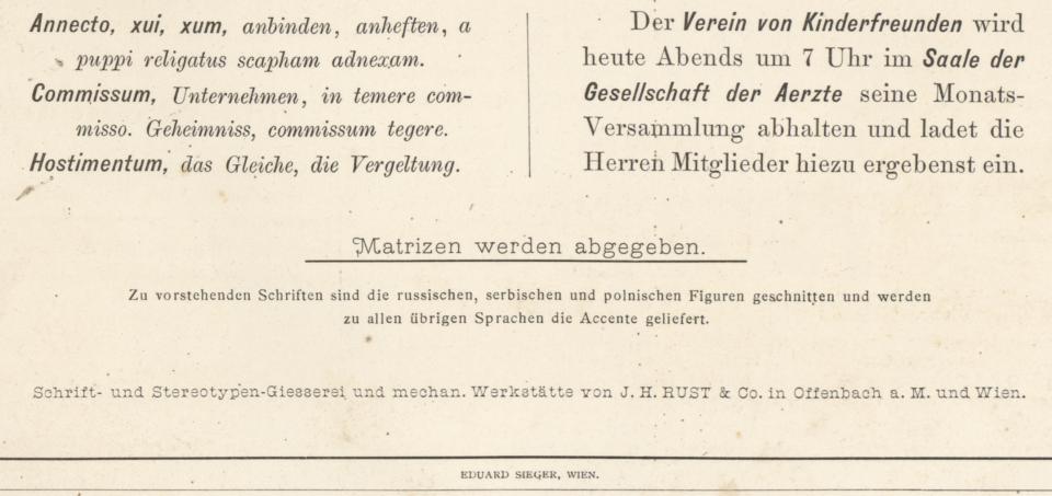 Bottom of J. H. Rust & Co.'s 1875 specimen sheet advertising the smaller sizes of the Halbfette Cursiv-Grotesque typeface.