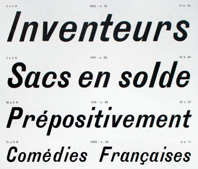 72, 60, 48 and 36-pt sizes of Antiques Italiques, 2e Catégorie,