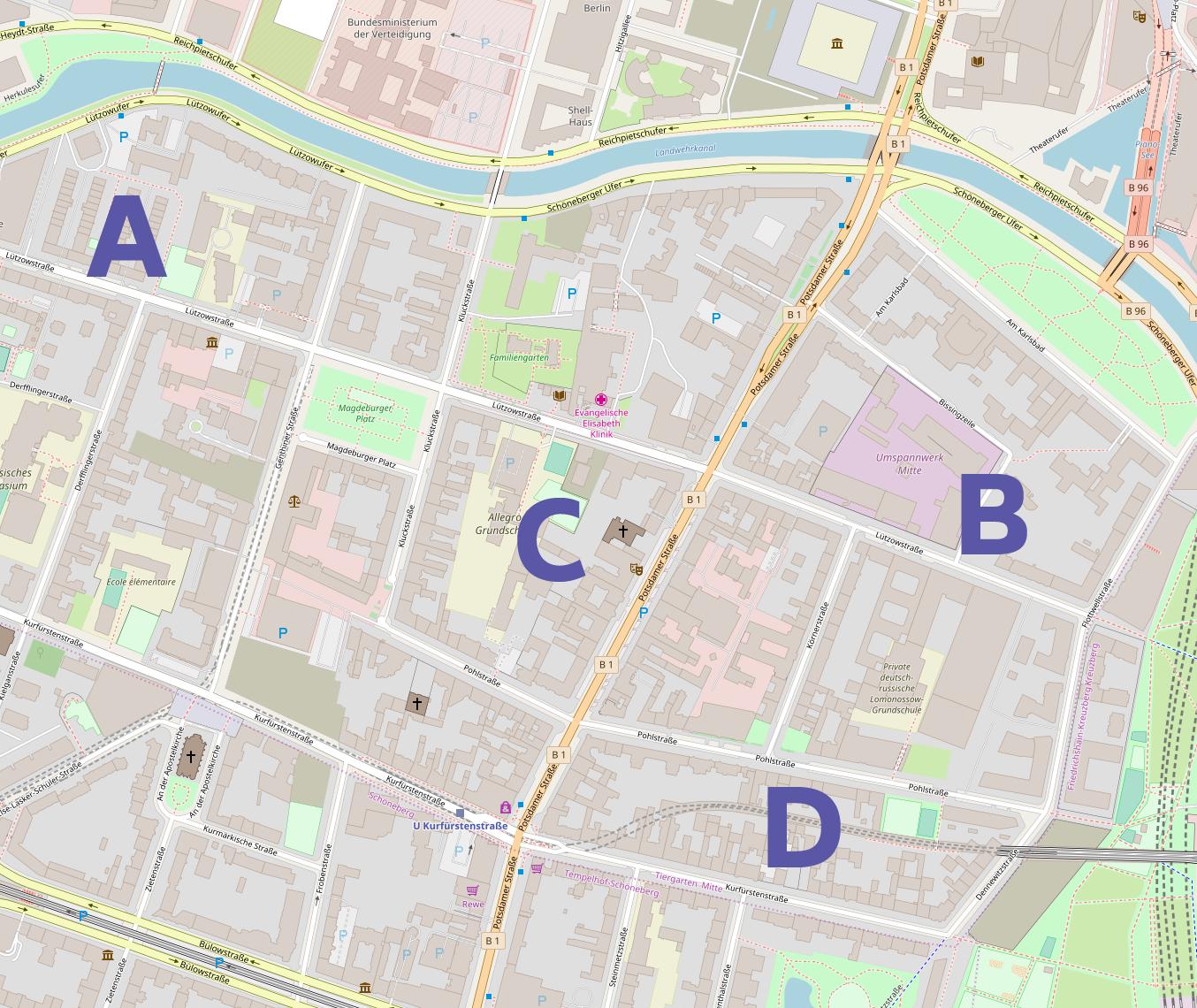 Four type history spots in Tiergarten