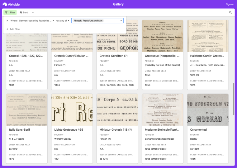 Screenshot of my Airtable database of original sans serifs sold by German, Austrian and Swiss type foundries during the 19th century