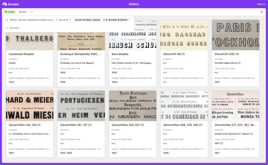 Airtable filter results for typefaces sold by both Gustav Schelter's typefoundry and J. G. Schelter & Giesecke