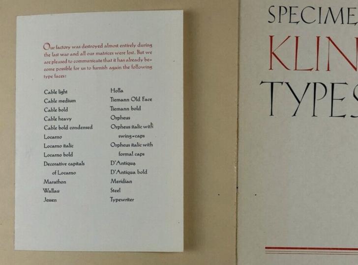 Specimen of Klingspor Types