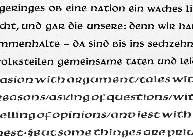 Comparison of Victor Hammer's Hammerschrift and Samson typefaces