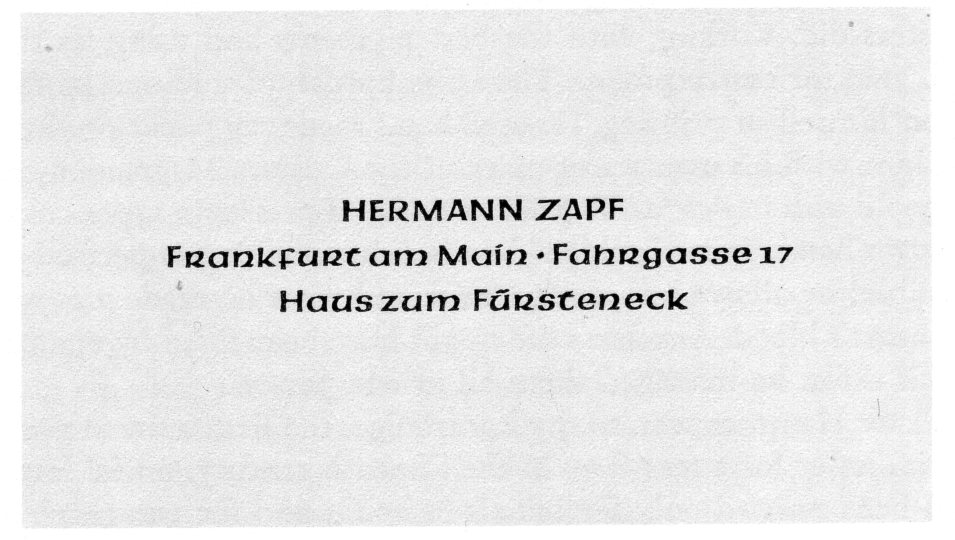 Hermann Zapf's first business card, composed with the Pindar typeface