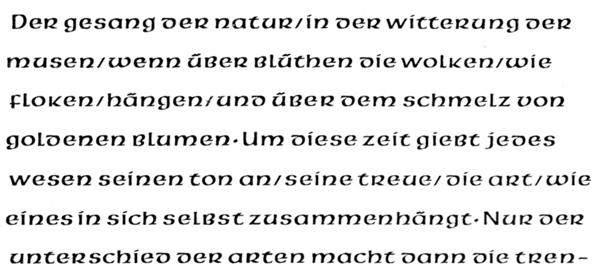 Pindar typeface sample. Victor Hammer, 1936.