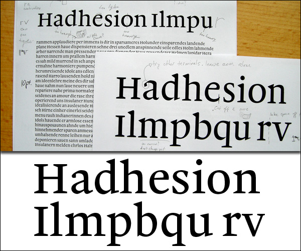 Malabar: first tests vs. the final font.