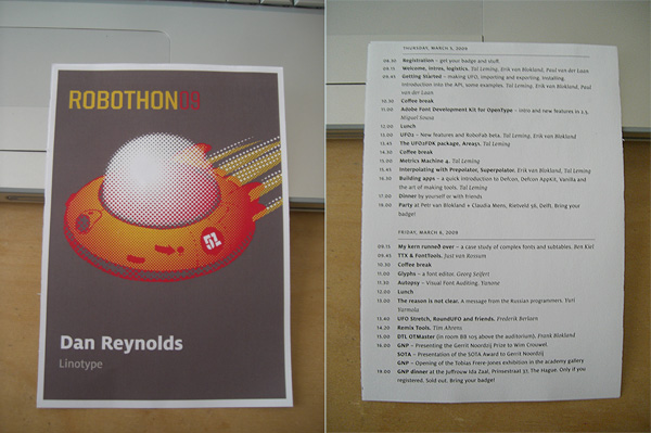 The front and back of the RoboThon conference badge