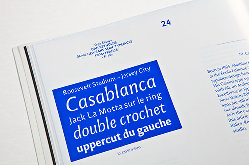 Type sample of Mathieu Réguer's Cassius Sans, from Slanted #13.