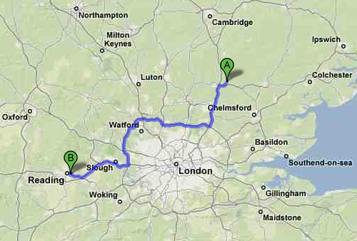 Auto route to Reading
